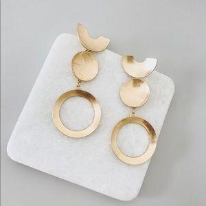 Minimal Gold Brass Drop Earrings